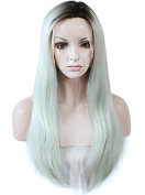 """Lace Wig Long 24""""Straight Synthetic Lace Front Wig High Density Mint Green Dark Roots"""