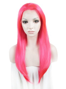 """Lace Wig Long 24""""Straight Synthetic Lace Front Wig High Density Highlight Rose"""