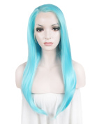 """Lace Wig Long 24""""Straight Synthetic Lace Front Wig High Density Highlight Blue"""