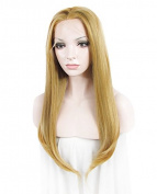 "Lace Wig Long 24""Straight Synthetic Lace Front Wig High Density Mixed Blonde"