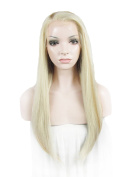 60cm Brown High Density Synthetic Lace Front Wig Long Straight Wig