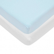 Pindaboo Fitted Mini Crib-Portable Crib Sheet, Blue & White