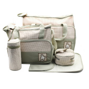5-in-1 Multi-functional Waterproof Baby Nappy Changing Bags Set Special for Travel with Adjustable Shoulder Straps