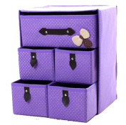 GAMT Non-woven Storage Box Cubes Baskets Organiser Drawers 5 Drawers(38cm30cm22cm)PURPLE