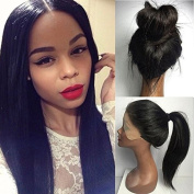 PlatinumHair Synthetic Lace Front Wig Black Soft Straight Wigs Heat Resistant Glueless Lace Front Wigs for Women 60cm