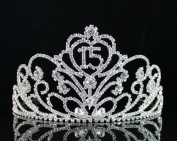 Janfashions Quinceanera Sweet 15 Fifteen Birthday Rhiestone Tiara Crown With Hair Combs T1813 Silver