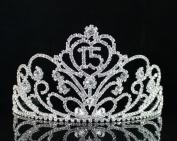 Janfashions Quinceanera Sweet 15 Fifteen Birthday Rhiestone Tiara Crown With Hair Combs T1813 Silver