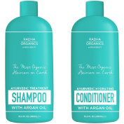 Radha Beauty Organic Ayurvedic Shampoo & Conditioner set made with Organic Argan & Peppermint Oil - 100% natural, Sulphate free, deep moisturising, eliminates dandruff and Itchy scalp