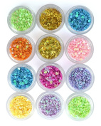 QIMISI DIY 12 Colours Hollow Solid Heart Star Flower Glitter Sheet Spangle Nail Tip Deco