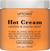 Uptown Cosmeceuticals Hot Anti Cellulite Cream 120ml - 100% Natural Cellulite Treatment, Promotes Supple & Toned Skin, Muscle Relaxant & Pain Relief Cream