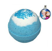 Frozen BUBBLE Bath Bomb with Frozen Necklace Inside - in Gift Box - Kid Safe - Stain Free - Made in the USA - by Two Sisters Spa