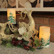 Pacific Accents Holiday Bliss Wax Pillar Candle with Tree Scene