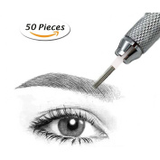 Hair Stroked Round Needles for Microblading Pen Eyebrow Manual Tattoo Semi Permanent Makeup Fog Pen Needle Pack of 50 pcs