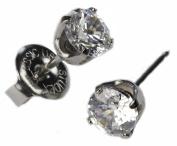 Ear Piercing Studs Earrings Silver 5mm Clear CZ Stainless Steel Studex System 75 Hypoallergenic