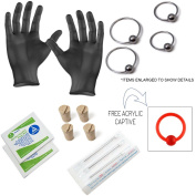 15-Piece Ear Piercing Kit - Includes (4) 20ga 316L Earrings, (4) Needles, (4) Corks, (2) Alcohol Wipes and a Pair of Gloves - PK012