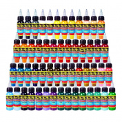 Solong Tattoo® 54 Colours Complete Tattoo Ink Set Pigment Kit 1oz (30ml) Professional Tattoo Supply for Tattoo Kit TI301-30-54