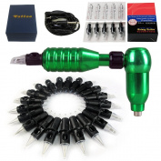 Solong Tattoo® 2-In-1 Rotary Tattoo Machine Gun and Permanent Makeup Pen Kit With 50pcs Hawk Needles Green M667C-4