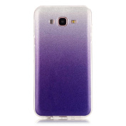 Moonmini Gradient Colour Sparkling Glitter Ultra Slim Fit Soft TPU Phone Back Case Cover for  for Samsung  Galaxy J7 (2015) - Purple