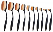 JPNK 10PCS Oval Makeup Brush Set with Toothbrush Design with Soft Synthetic Hair for Foundation and Concealer