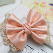 CellElection Women Girls Bow Lace Hair Pins Wedding Hair Accessories Pink Bowknot Tiara Head Flower New Hair Clip Tiara Bride Jewellery