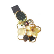 "Hanabe ""Piatte"" Handmade Nature Scenery Mother of Pearl Beaded Hair Clip Hair Pin"