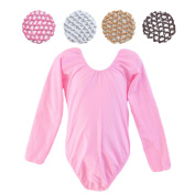 Crochet Hair Bun Cover with Rhinestones and Long Sleeve Leotard Set