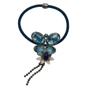 Tamarusan Ponytail Holder Hairaccessories Blue Butterfly Lace Flowers Lapis Lazuli Antique Style