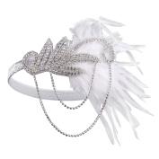 BABEYOND Women's Flapper Feather Headband 1920s Headpiece Vintage Hair Accessories Crystal Headband