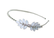 Lovely Princess Sliver Leaf-Shaped Bowknot Head Band Crystal Headband For Girls