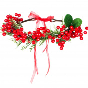 Valdler Vintage Santa Berries Flower Crown Headband with Adjustable Ribbon for Party Red