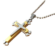 Fheaven Unisex Personality Men Stainless Steel Cross Pendant Necklace Chain Partty Gift