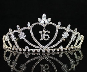 JANEFASHIONS SWEET SIXTEEN 16 RHIESTONE TIARA CROWN WITH COMBS PARTY jewellery T538 GOLD
