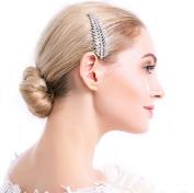 Merroyal Vintage Crystal Rhinestone Leaves Bridal Hair Comb for Wedding