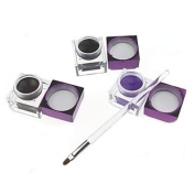 Kaifina 3Pcs Pro Cosmetic Waterproof Eyeliner Black + Brown + Purple Colour Eyeliner Gel with Brush 03#