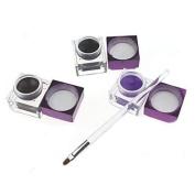 Kaifina 3Pcs Pro Cosmetic Waterproof Eyeliner Black + Brown + Purple Colour Eyeliner Gel with Brush 03#