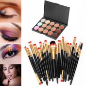 Lisingtool 15 Colours Contour Face Cream Makeup Concealer Palette + 20 Brush