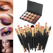Lisingtool 15 Colours Contour Face Cream Makeup Concealer Palette + 20 Brush