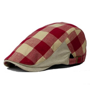 Plaid Men`s Flat Cap Irish Ivy Hat Cabbie Canvas hats Red