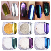 NICOLE DIARY 6 Colours/set 1g Shinning Mirror Powder Gorgeous Gold Silver Pigment Nail Glitter Nail Art Chrome