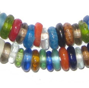 African Disc Recycled Glass Beads - Full Strand of Eco-Friendly Rondelle Fair Trade Beads