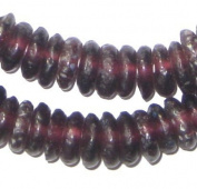 African Disc Recycled Glass Beads - Full Strand of Eco-Friendly Ghanaian Rondelle Beads - The Bead Chest
