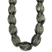 GLASS BEADS OVAL FACETED 10x7mm CHARCOAL grey strand