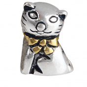Mr. Cat Charm with Gold Plated Bowknot Original 100% Authentic 925 Sterling Silver Pet Animals Beads fit for Gift Charms Bracelets