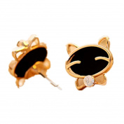 Amiley earrings for women cheap , 1Pair Black Smile Cat Fine Diamond Stud Earrings