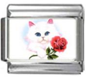CAT WHITE WITH ROSE Photo Italian Charm 9mm Link - 1 x CA015 Single Bracelet Link