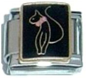 CAT SLINKY SASSY FELINE Enamel Italian Charm 9mm - 1 x CA127 Single Bracelet Link