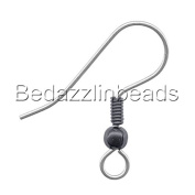 50 Stainless Surgical Steel Ball & Coil Fishhook Hook Earring Findings With Loop