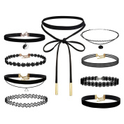 LEFV™ 9 Pieces Black Choker Necklace Lace Tattoo Charms Chain for Women Girls