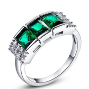 Narica Womens Fancy 4mmx6mm Radiant Cut Emerald Quartz Cubic Zirconia Engagement Ring