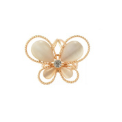 ULTNICE Tricyclic Scarf Ring Crystal Diamond Butterfly Buckle Clip